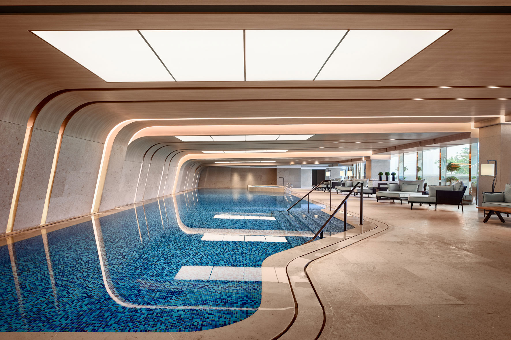 Owen Raggett, Architectural photographer, Singapore. Conrad Hangzhou pool, China